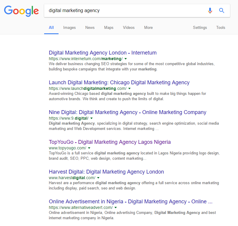 digital marketing agency search result lagos