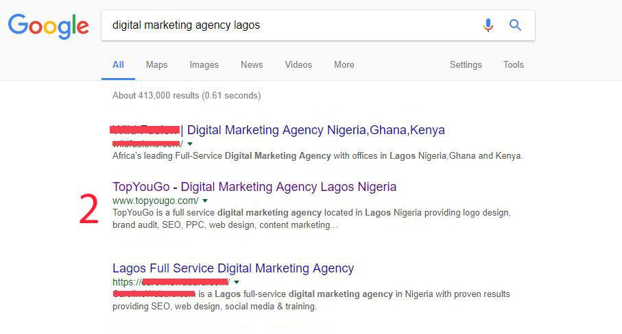 5 Good Reasons to Hire an SEO Company in Nigeria - TopYouGo Google SERP