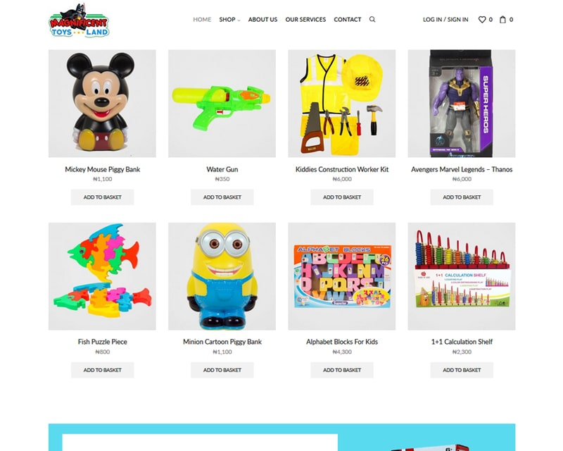 Ecommerce Website Design Nigeria - Toy Shop