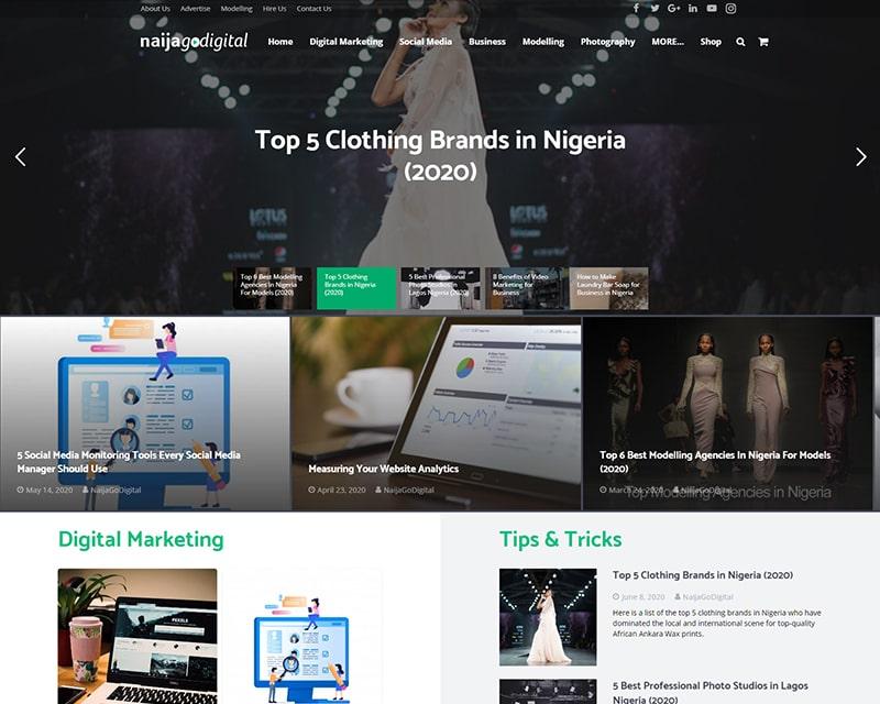 Blog Website Design with Online Shop
